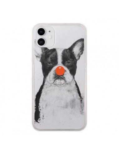 Coque iPhone 11 Clown Bulldog Dog Chien Transparente - Balazs Solti