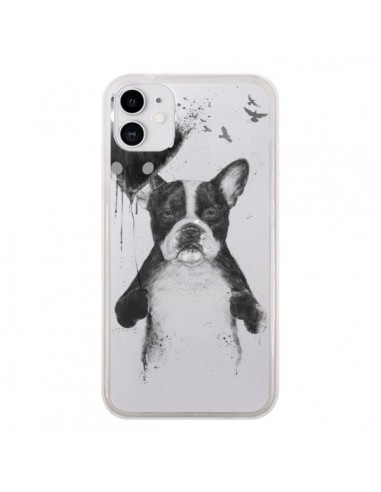 Coque iPhone 11 Love Bulldog Dog Chien Transparente - Balazs Solti