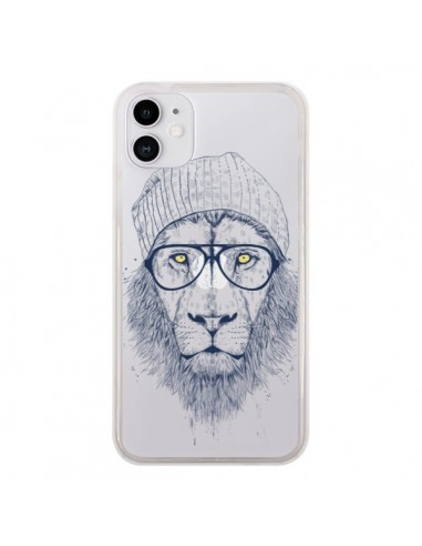 Coque iPhone 11 Cool Lion Swag Lunettes Transparente - Balazs Solti