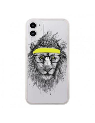 Coque iPhone 11 Hipster Lion Transparente - Balazs Solti