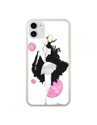 Coque iPhone 11 Demoiselle Femme Fashion Mode Rose - Cécile