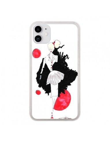 Coque iPhone 11 Demoiselle Femme Fashion Mode Rouge - Cécile