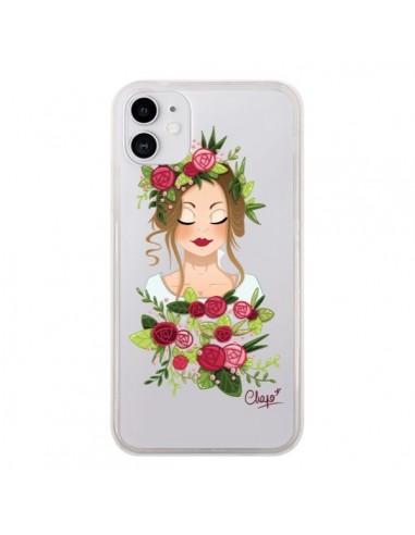Coque iPhone 11 Femme Closed Eyes Fleurs Transparente - Chapo