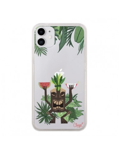 Coque iPhone 11 Tiki Thailande Jungle Bois Transparente - Chapo