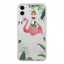 Coque iPhone 11 Lolo Love Flamant Rose Chien Transparente - Chapo