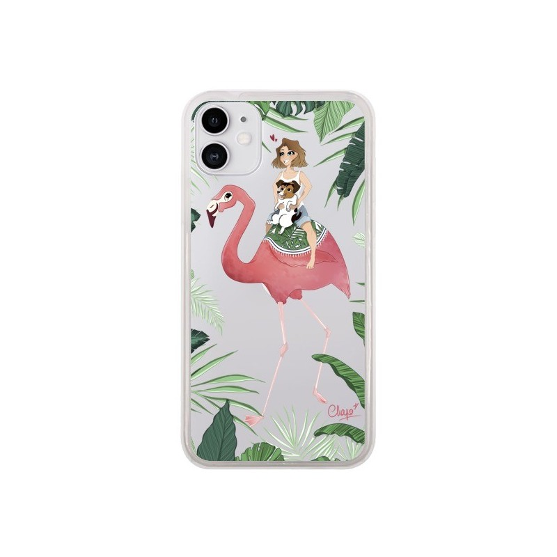 Coque iPhone 11 Lolo Love Flamant Rose Chien Transparente - Chapo