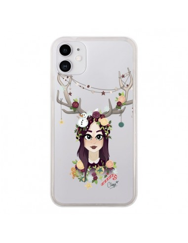 Coque iPhone 11 Christmas Girl Femme Noel Bois Cerf Transparente - Chapo