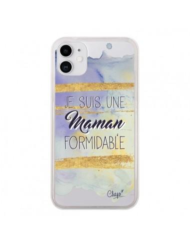 Coque iPhone 11 Je suis une Maman Formidable Violet Transparente - Chapo