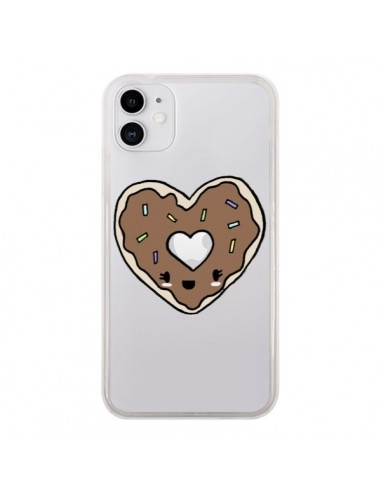 Coque iPhone 11 Donuts Heart Coeur Chocolat Transparente - Claudia Ramos