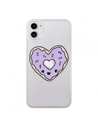 Coque iPhone 11 Donuts Heart Coeur Violet Transparente - Claudia Ramos