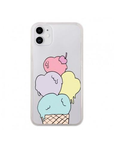 Coque iPhone 11 Ice Cream Glace Summer Ete Coeur Transparente - Claudia Ramos