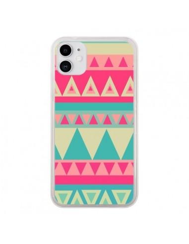 Coque iPhone 11 Azteque Rose Vert - Eleaxart