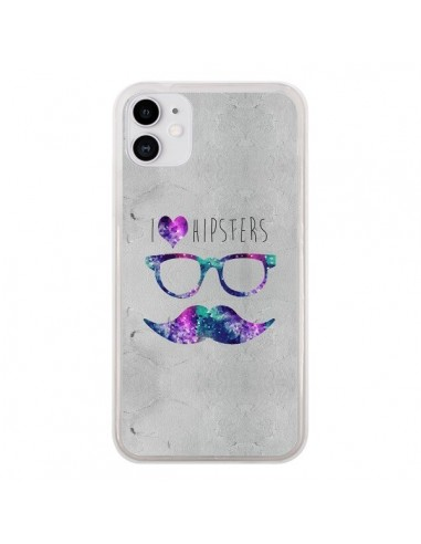 Coque iPhone 11 I Love Hipsters - Eleaxart