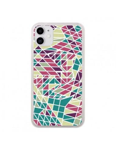 Coque iPhone 11 Azteque Triangles Vert Violet - Eleaxart