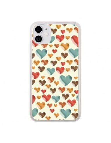 Coque iPhone 11 Coeurs Color_s - Eleaxart