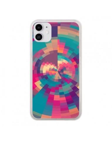 Coque iPhone 11 Spirales de Couleurs Rose Violet - Eleaxart