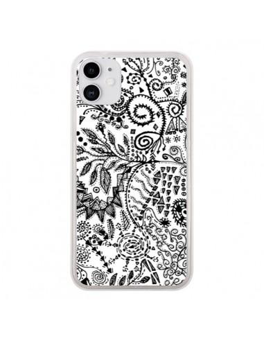 Coque iPhone 11 Azteque Blanc et Noir - Eleaxart