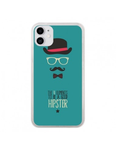 Coque iPhone 11 Chapeau, Lunettes, Moustache, Noeud Papillon To Be a Good Hipster - Eleaxart