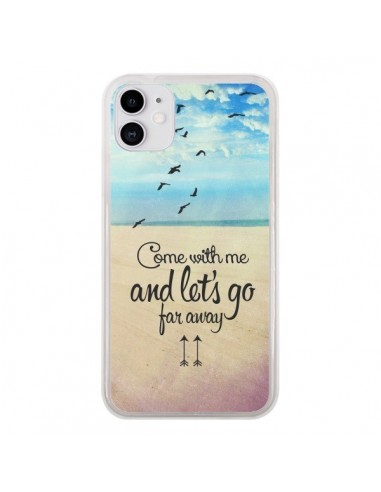 Coque iPhone 11 Let's Go Far Away Beach Plage - Eleaxart