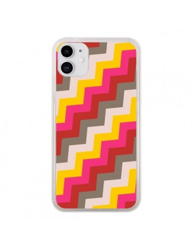 Coque iPhone 11 Lignes Triangle Azteque Rose Rouge - Eleaxart