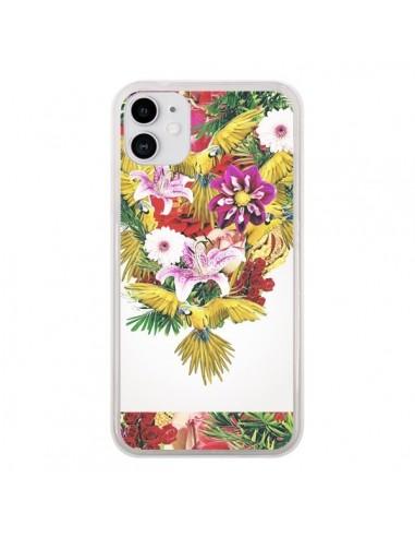 Coque iPhone 11 Parrot Floral Perroquet Fleurs - Eleaxart
