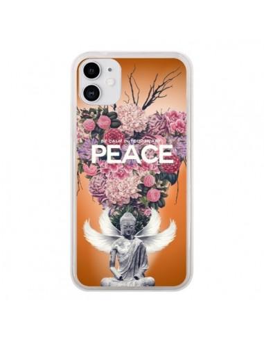 Coque iPhone 11 Peace Fleurs Buddha - Eleaxart