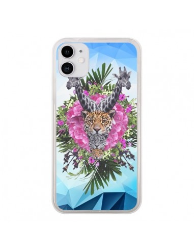 Coque iPhone 11 Girafes Lion Tigre Jungle - Eleaxart