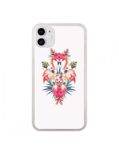 Coque iPhone 11 Tropicales Flamingos Tropical Flamant Rose Summer Ete - Eleaxart