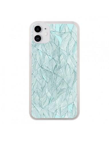 Coque iPhone 11 Courbes Meandre Bleu Vert Nuageux - Léa Clément