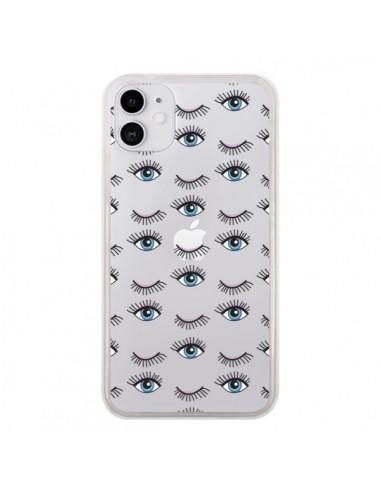 Coque iPhone 11 Eyes Oeil Yeux Bleus Mosaïque Transparente - Léa Clément