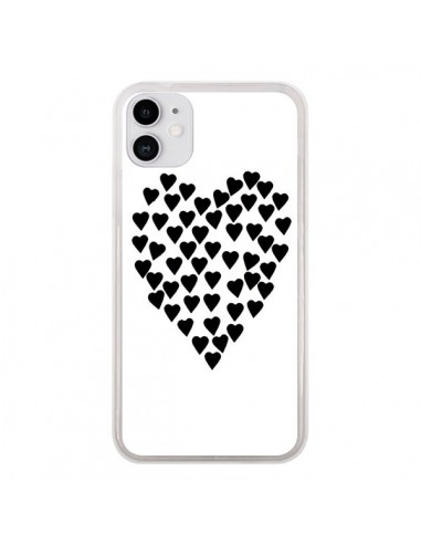 Coque iPhone 11 Coeur en coeurs noirs - Project M