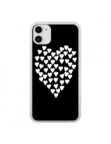 Coque iPhone 11 Coeur en coeurs blancs - Project M