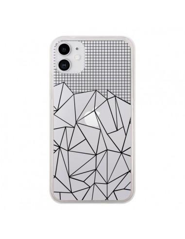 Coque iPhone 11 Lignes Grille Grid Abstract Noir Transparente - Project M