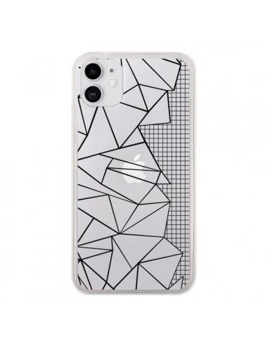 Coque iPhone 11 Lignes Grilles Side Grid Abstract Noir Transparente - Project M