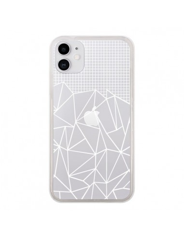 Coque iPhone 11 Lignes Grilles Grid Abstract Blanc Transparente - Project M