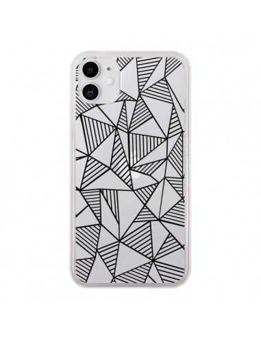 Coque iPhone 11 Lignes Grilles Triangles Grid Abstract Noir Transparente - Project M