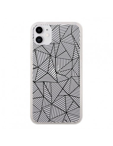 Coque iPhone 11 Lignes Grilles Triangles Full Grid Abstract Noir Transparente - Project M