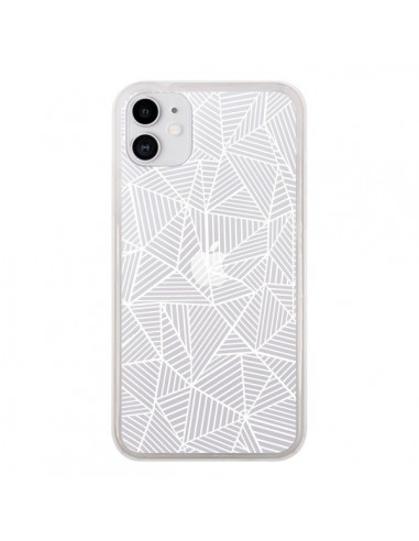 Coque iPhone 11 Lignes Grilles Triangles Full Grid Abstract Blanc Transparente - Project M