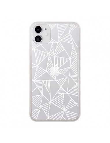 Coque iPhone 11 Lignes Grilles Triangles Grid Abstract Blanc Transparente - Project M