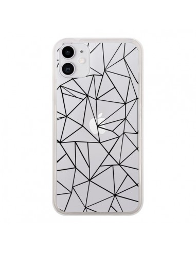Coque iPhone 11 Lignes Triangles Grid Abstract Noir Transparente - Project M