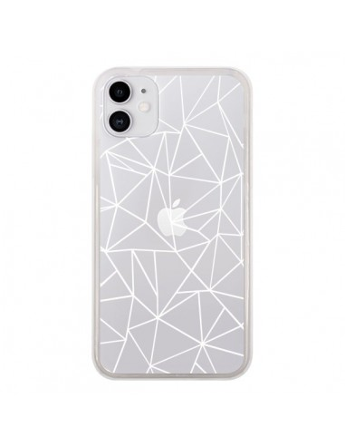 Coque iPhone 11 Lignes Triangles Grid Abstract Blanc Transparente - Project M
