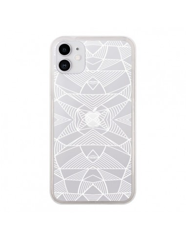 Coque iPhone 11 Lignes Miroir Grilles Triangles Grid Abstract Blanc Transparente - Project M