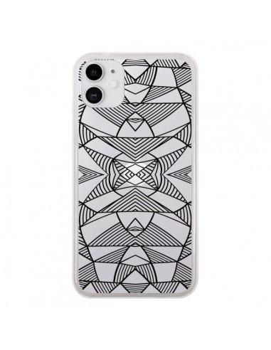 Coque iPhone 11 Lignes Miroir Grilles Triangles Grid Abstract Noir Transparente - Project M