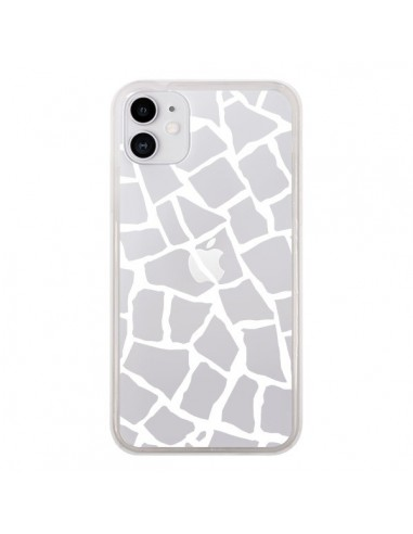 Coque iPhone 11 Girafe Mosaïque Blanc Transparente - Project M