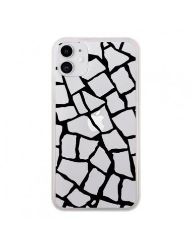 Coque iPhone 11 Girafe Mosaïque Noir Transparente - Project M