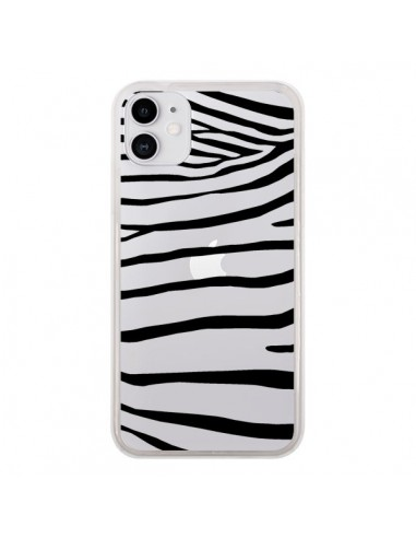 Coque iPhone 11 Zebre Zebra Noir Transparente - Project M