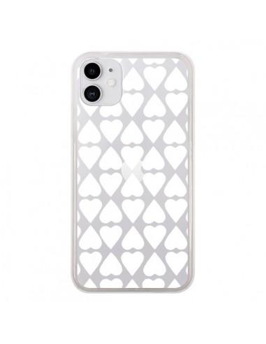 Coque iPhone 11 Coeurs Heart Blanc Transparente - Project M
