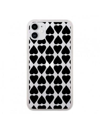 Coque iPhone 11 Coeurs Heart Noir Transparente - Project M