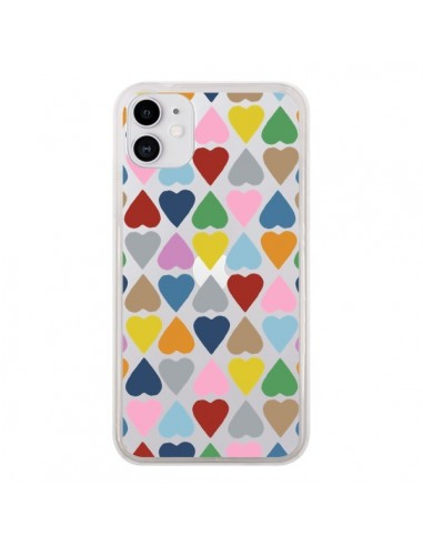 Coque iPhone 11 Coeurs Heart Couleur Transparente - Project M