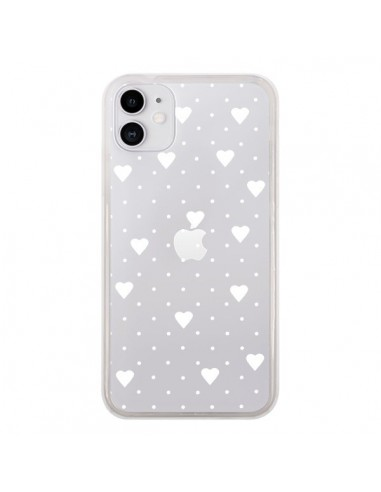 Coque iPhone 11 Point Coeur Blanc Pin Point Heart Transparente - Project M